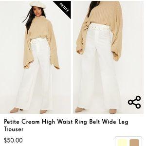 Petite Cream High Waist Ring Belt Wide Leg Trouser